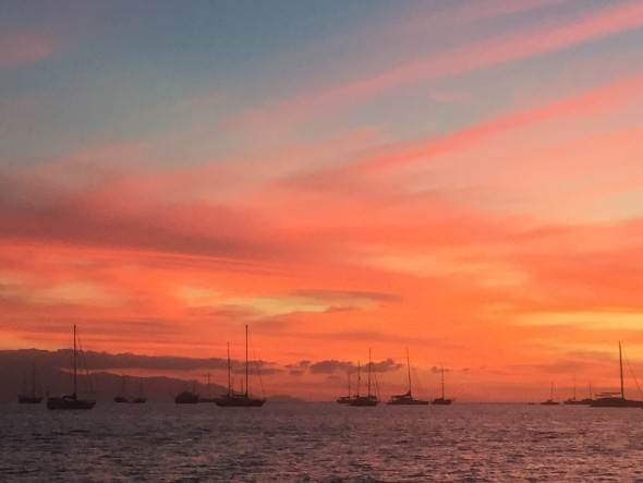 The La Cruz anchorage at sunset